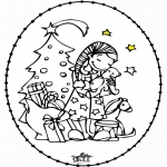 Sy-kort - Stitchingcard Girl and Christmastree