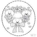 Sy-kort - Stitchingcard little bear