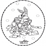 Sy-kort - Stitchingcard rabbit