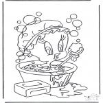 Sjove figurer - Tweety in bath