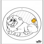 Håndarbejde - Window picture Lion